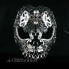 Silver Evil Skull Light Metal Laser Cut Diamond Venetian Masquerade Mask