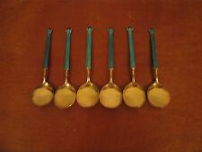 Vintage Sterling Silver Enamel David Andersen Norway Set of 6 Gold Washed Spoons