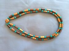 Coconut Wood & Glass Bead 24 Inch Double Strand Handmade Necklace w/clasp