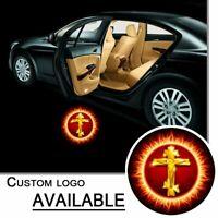 1Pair Led Auto Door Welcome Logo Golden Flame Cross Projector Ghost Shadow Light