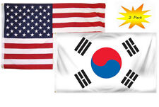 3x5 3'x5' Wholesale Set (2 Pack) USA American & South Korea Country Flag Banner