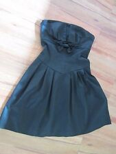 REVIEW, BLACK SATIN  STRAPLESS DRESS, FULLY LINED SIZE 8/10