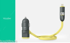 LED light 5v/2.4A Car Charger for Apple and Android with 2 in 1 usb cable
