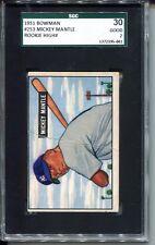 1951 Bowman Baseball #253 Mickey Mantle Rookie Card SGC 30
