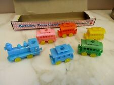 Vintage Train Birthday Cake Topper Candle Holders in Box Pastel