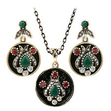 Gold plated tulip style green agate mix rhinestone Indian necklace earrings set