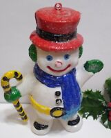 """Vintage Christmas Blow Mold Mini Snowman ORNAMENT about 6 1/2"""" tall"""