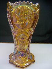 "Large 9"" L.E. Smith Amber Carnival Glass Vase w/ Pinwheel Ohio Star Design 1860"