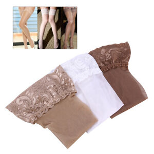3 Pairs Women Silicone Stockings Non-slip Stay Up Thigh High Sexy Lace Top NEW!