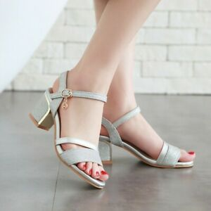 Ladies Womens Mid Low Block Heel Ankle Strap Party Evening Sandals Open Toe Shoe