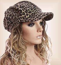 TRENDY DAMEN Ballonmütze Schirmmütze Leopard Tierprint Fleece Futter 55-56 cm
