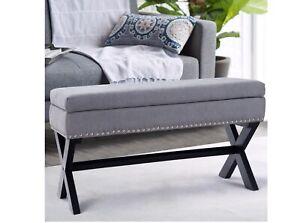 Storage Folding Ottoman Bench Fabric Faux Stora Foot Seat Stool FREE SHIPPING