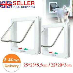 Pet Door Frame 4 way Locking Small Medium Large Dog Cat Flap Magnetic ABS UK