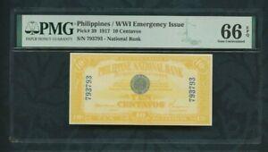 1917 Philippines / WWI Emergency Issue  pick# 39 10 Centavos PMG 66 EPQ Top Pop