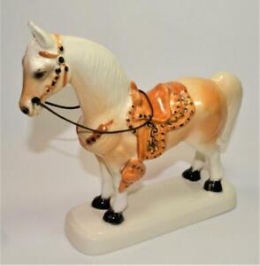 "Vintage 50s Japan High Gloss Porcelain White STANDING HORSE 7 1/4""h Figurine"