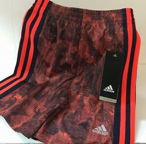adidas Boys Shorts Size 4 Red Striped Abstract Climacool New!!