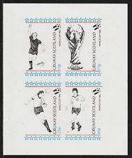 GB Locals GRUNAY  7492 - 1982 FOOTBALL WORLD CUP imperf sheetlet of 4 u/mint