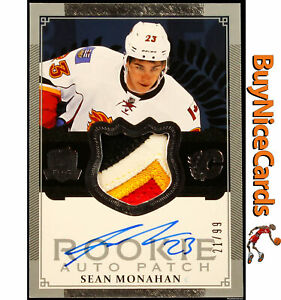 2013-14 Sean Monahan Upper Deck The Cup 4 Color RC Rookie Patch Auto /99