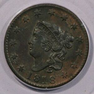 1818 Coronet Head Large Cent 1c PCGS MS63 BN CAC Rattler OGH Old Green Holder