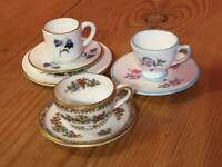 Miniature Bone China Tea Service 1 Trio and 2 x Coalport Cups and Saucers