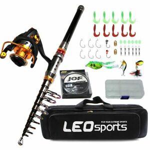 Fishing set short travel stick carp bass pike feeder rod telescopic full kit