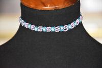 Vintage BoHo Bohemian Crochet Choker Necklace Pink Blue and White Beads