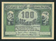 OLECKO 100 Mark (1922) Kreis Oletzko Marggrabowa Poland Germany banknote UNC