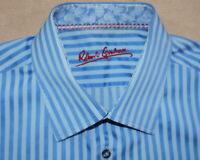 ROBERT GRAHAM Dress Shirt - Men 16.5 34/35 Blue Stripe Long Sleeve