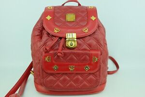 100% Authentic MCM Red Leather Quilt *German Made* Backpack