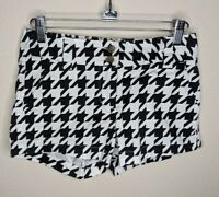Loudmouth Golf Sweet Tooth Mini Shorts Cotton Stretch Black White Womens Size 0
