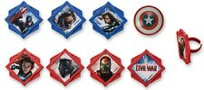 Marvel Captain America Civil War Divided Cupcake Rings 24pcs Cake Toppers Favors