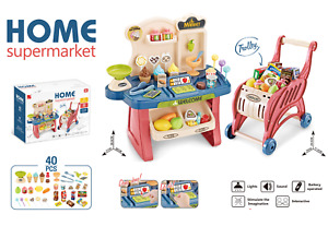 Childrens 40 Piece 2:1 Role Play Sweet Shop Cash Till & Trolley Toy Set 668-83