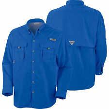 Columbia Men's Pfg Bahama II Long Sleeve Fishing Shirt UPF 30 Vivid Blue XL