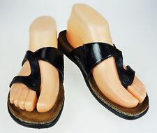 EU 37 US 6 Naot Francine  Black Leather Francine Comfort Flip Flop Thong Sandals