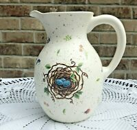 Simple Treasures Pitcher With Birds Nest And Blue Eggs Leaves Papal Giftware