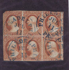 SCOTTS# 10A 3 CENT BLOCK OF SIX, USED, BLUE PHILADELPHIA CANCELS. HIGH CV, LOOK!