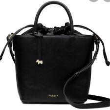 Bnwt radley knitters close black leather multi-way bucket bag new