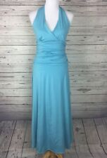 Spiegel Women's Blue Knit V-Neck Sleeveless Halter Ruched Maxi Dress Size Small