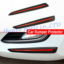 2Pcs Faced Carbon Fiber Look Soft Rubber Car Front Rear Bumper Protector Guards