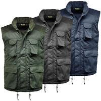 Mens Multi Pocket Lined Padded Gilet Bodywarmer | Work Wear | Outdoor