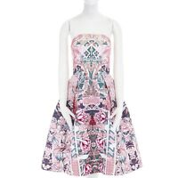 MARY KATRANTZOU pink graphic letter floral digital print strapless dress UK10 M