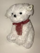 TY White BICHON FRISE Stuffed Plush SWEETPEA Puppy Dog Red Heart Sheer Bow 2008