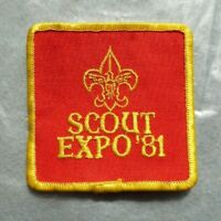 Vintage Scouts cloth badge, Scout Expo 81, 3 inches squared, good condition.