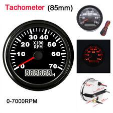 85mm Boat Marine Tachometer Gauge LCD Tacho Hour Meter Waterproof 0-7000 RPM
