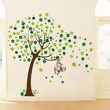 Monkey Blossom Tree Nursery Wall Stickers Decals Boy Baby Children Kid Bedroom