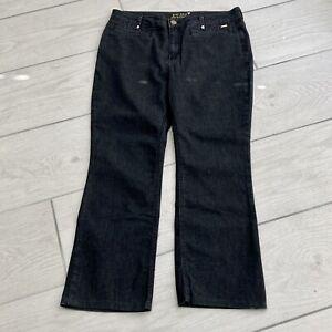 Per Una Short Black Jeans UK 16S Slim Bootleg High Rise Stretch M&S Gold Heart
