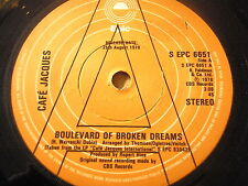"CAFE JACQUES - BOULEVARD OF BROKEN DREAMS  7"" VINYL PROMO"