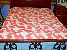 Vintage Drunkards Path Quilt, Fabulous Watermelon Pink Fabric, c1920, Stunning!