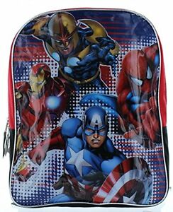"Marvel Heroes 15"" Backpack with Spiderman, Ironman, Captain America & Nova"