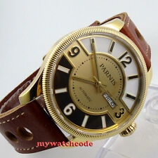 42mm Parnis yellow golden dial Sapphire Glass miyota Automatic mens Watch P410